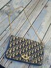 Vintage Christian Dior MONOGRAM Navy Logo Clutch purse WITH gold CHAIN