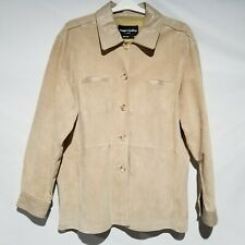 Margaret Godfrey Coat Womens Size 2X Beige Button Up Unlined* Suede Leather Trim