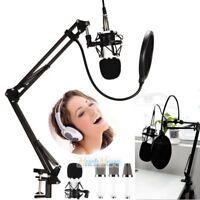 PROFESSIONAL Audio Condenser Microphone Kit Vocal Studio Recording Set Stand USB