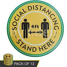 12Pcs Shop Floor Matt Social Distancing Sign Stickers Vinyl Decals Yellow Color