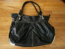 BLACK LARGE HANDBAG WITH SILVER FRONT FEET