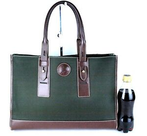 Auth HUNTING WORLD Olive Nylon Canvas Brown Leather Official Tote Hand Bag Purse