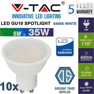 10x V-TAC 5W 400lm LED GU10 Spotlight Samsung Chip Cool White Daylight 6400K