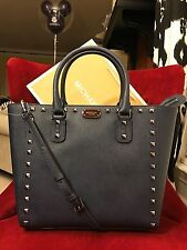 NWT MICHAEL MICHAEL KORS SAFFIANO STUD LARGE TOTE BAG IN NAVY/METAL (SALE!!)
