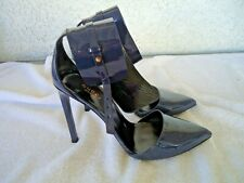 Gucci Navy Leather Stiletto Pump Heels with Thick Ankle Strap Size 39EU (Us 8.5)