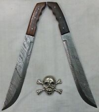 Custom Handmade Knife King's Full tang Damascus Machete Sword (2 PCS SET)