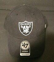 OAKLAND RAIDERS NFL BLACK STRAPBACK CONTENDER DAD CAP HAT NEW '47 BRAND OSS