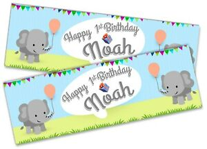 x2 Personalised Birthday Banner Elephant Children Kids Party Decoration Poster 1