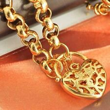 """22"""" 9K Solid Yellow Gold Filled Openwork Flower Heart Pendant Chian Necklace"""