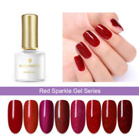 BORN PRETTY Soak Off UV Gel 6ml Red Sparkle Nail Art Shimmer Glitter Gel Polish
