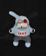 Peluche doudou lapin mini IKKS blanc bleu rouge 12 cm TTBE