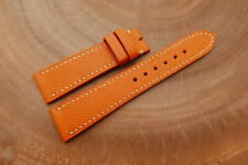 Bespoke Orange Genuine EPSOM CALF Skin Leather Watch Strap 16 18 19 20 21 22mm