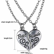 """Newly 2PS Heart Double """"BEST FRIEND"""" Friendship Silver Necklace Pendant Chains"""
