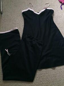 Ladies H&M Black Night Dress And Matching Pyjama Bottoms Size S