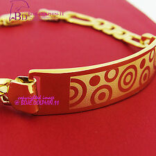 Womens Girls Solid 18ct Yellow Gold GF Carved ID Bracelet Bangle Figaro Chain