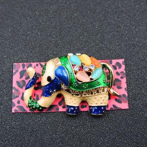 Betsey Johnson Multi-Color Opal Enamel Crystal Cute Elephant Brooch Pin Gift