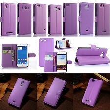 New Purple Flip PU Leather Card Slot Case Magnetic Close Stand Cover Book Wallet