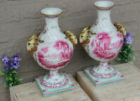 PAIR Antique French Porcelain Sceaux marked Vases Ram head landscape