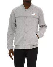 6b66f92e58a97 New Balance Logo Athletic Fleece Jacket Men's Sz MEDIUM Button Down Grey NWT