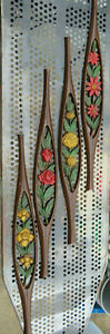 4 Piece Vintage Sexton Mid Century Modern floral flowers wall art metal MCM