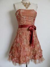 Vintage Jessica McClintock Cocktail Mini Dress Xs Strapless Apricot Ribbon Tulle