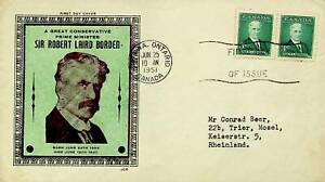 CANADA 1951 SIR ROBERT LAIRD BORDEN PAIR ON ILLUSTRATED FDC TO RHEINLAND GERMANY