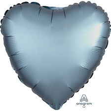 Amscan - Steel Blue Heart Satin Luxe Standard HX Foil Balloons S15