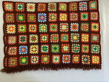 Crocheted Granny Square Afghan Lap Throw Brown With Multicolor Acrylic Handmade