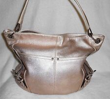 B. MAKOWSKY METALLIC CHAMPAGNE LEATHER LARGE TOTE/HOBO/ SHOULDER BAG GORGEOUS!**