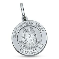 Nuestro Guardian Ángel Moneda Colgante 14k oro blanco católico Holy Spirit Dije