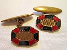 Vintage gold plated chain link cufflinks black & red enamel, mens jewellery