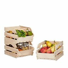 Relaxdays Cagette en bois empilable Boîte Rangement Nature Caisses...