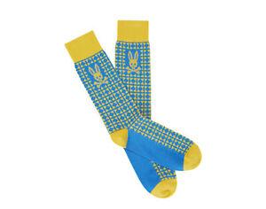 Psycho Bunny Art Deco Campanula Vista Blue/Yellow Men's Sock B6F412E1PB-VTA One