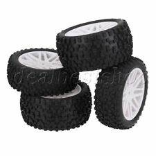 RC 1:10 Off-Road Vehicle  Front Rear Hard Wheel Rim & Rubber Tyre Tire 4pcs
