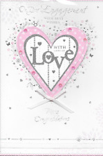 ISABELS GARDEN,ON YOUR ENGAGEMENT CARD,LOVE HEART THEME,RIBBON ,TOP QUALITY,M5