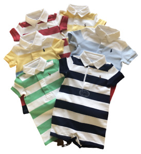 Ralph Lauren Baby Boys Toddler Smart Romper Suits Collared Short Babygrows 3m-3y