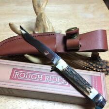 "Rough Rider Small Hunter Genuine Stag 6 1/4"" Knife with Leather Sheath RR090"