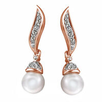 18k rose gold GP Crystal women Engagement wedding pearl stud earrings