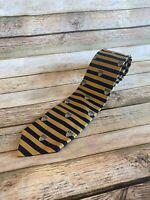Brooks Brothers Navy Gold Striped Emblem Tie Necktie 100% Silk Made in USA