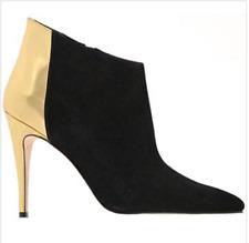 MANOLO BLAHNIK  black suede metallic gold ankle stiletto heel boots zip SZ 40.5