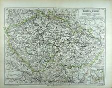 BÖHMEN, MÄHREN und ÖSTERREICHISCH-SCHLESIEN, Landkarte, gedruckt 1874