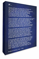 Rudyard Kipling IF Poem Wall Hanging Picture Dark Blue Canvas Print A1/A2/A3/A4