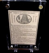 c1812 Tower Of Babel Woodcut Informative Ancient Playing Cards Rare Single + COA