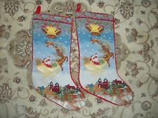 2 hand crafted wool ? Needlepoint Christmas stockings Santa Reindeer sleigh ride