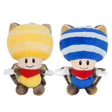 2pcs Super Mario Bros Squirrel Toad Stuffed Toy Yellow and Blue Plush Doll Gift