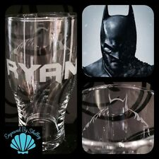 Personalised BATMAN Pint Beer Glass! Free Name Engraving Dad Father's Day Gift