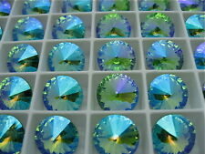 6 Peridot Glacier Blue Swarovski Rivoli Stone 1122 12mm