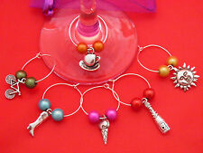 Set of 6 Handmade ' Variety ' Wine Charms by Libby's Market Place - FREE P&P