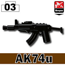 Ak74u (W2) Assault rifle compatible with toy brick minifigures AK47