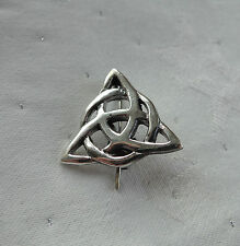 CELTIC TRIPLE GODDESS TRIQUETRA PAGAN WICCA BROOCH PIN 925 STERLING SILVER